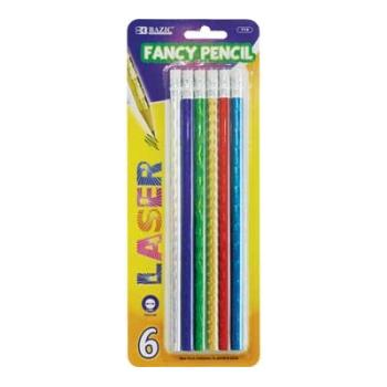 BAZIC Metallic Laser Foil Wood Pencil with Eraser 144 Packs of 6