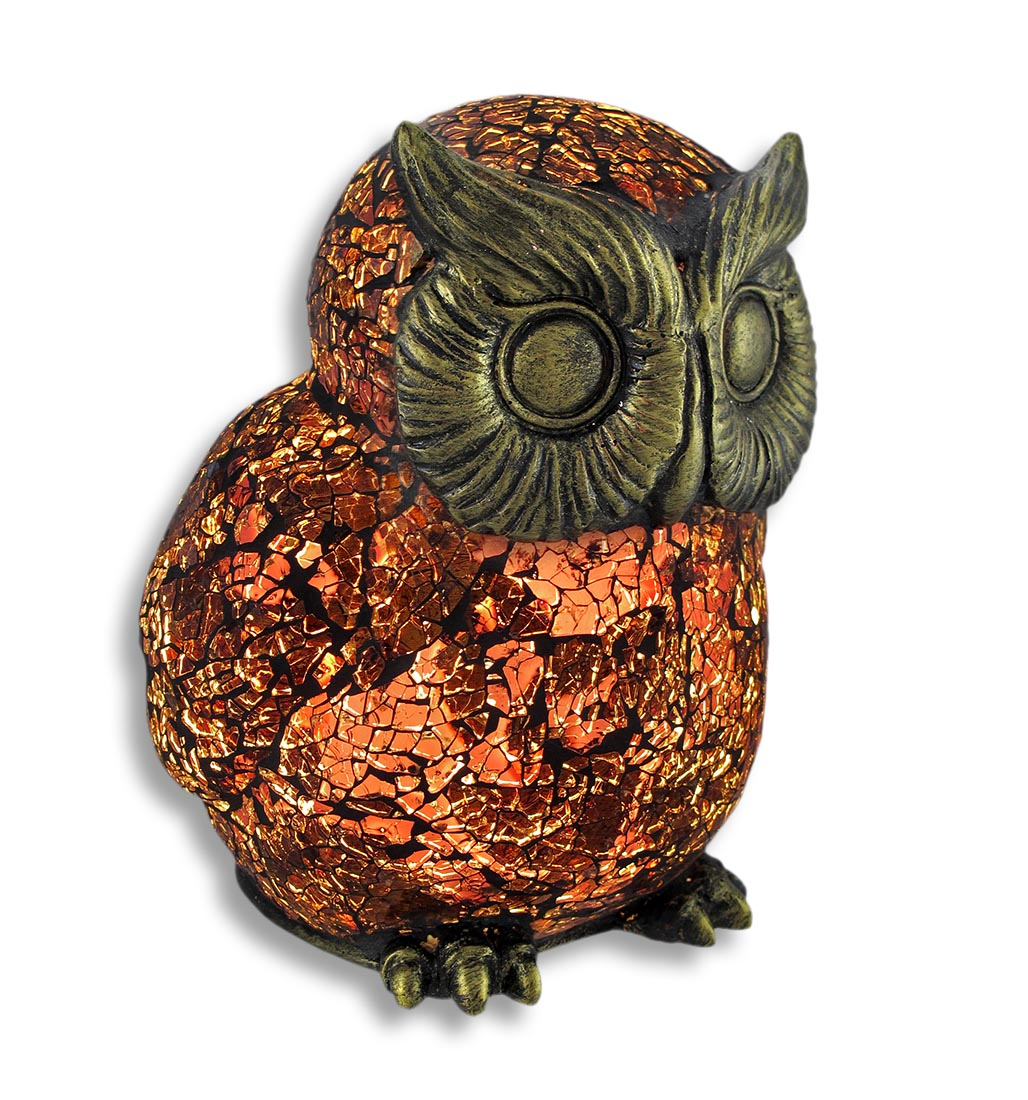 Amber Crackle Glass Owl Accent Lamp