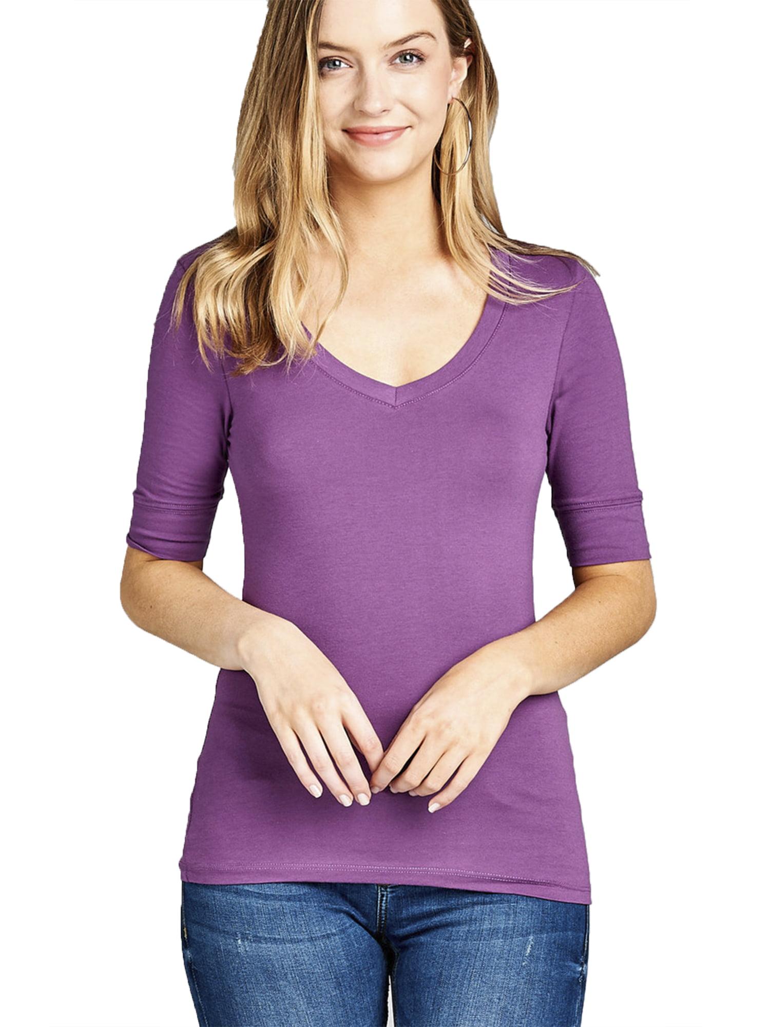 Emmalise Womens Slim Athletic Fit Vneck Tshirt Half Sleeves Top