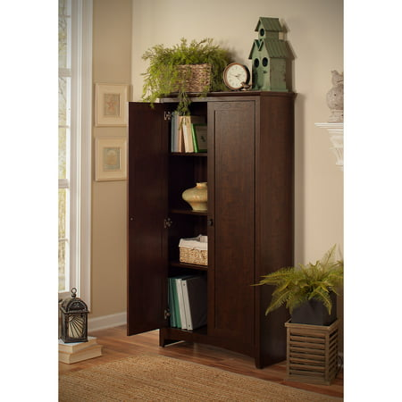 Door Less Holding Cabinet (Buena Vista Tall Storage Cabinet with Doors in Madison Cherry)