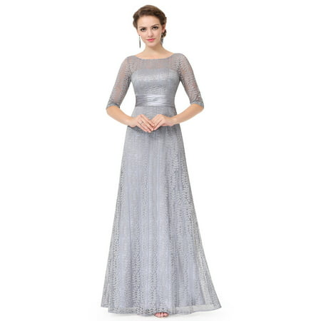 Ever-Pretty Women's Elegant Long A-Line Floral Lace Formal Evening Wedding Guest Mother of the Bride Dresses 08878 for Women Grey 4 US
