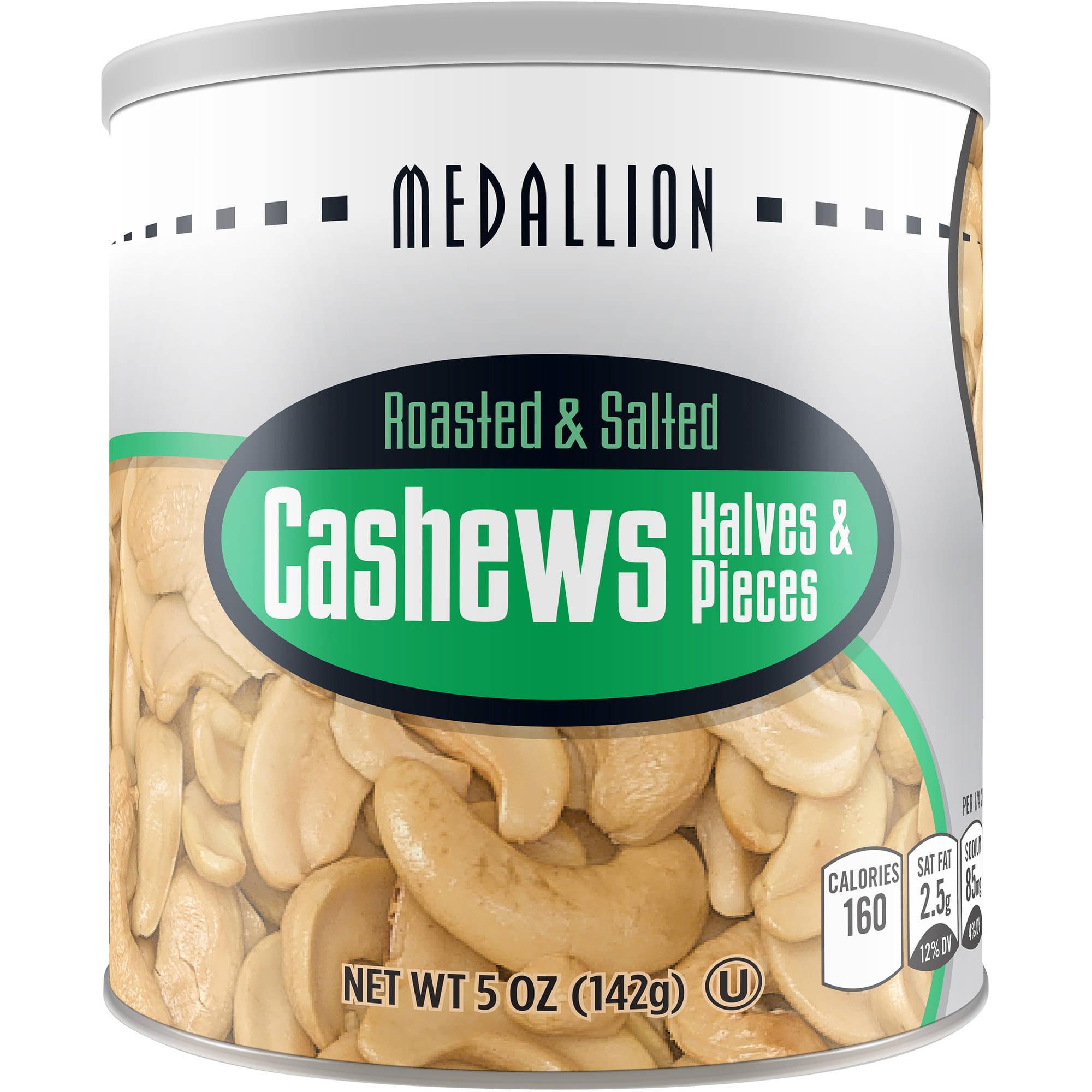 (2 Pack) Medallion Roasted Halves & Pieces Salted Cashews, 5 Oz