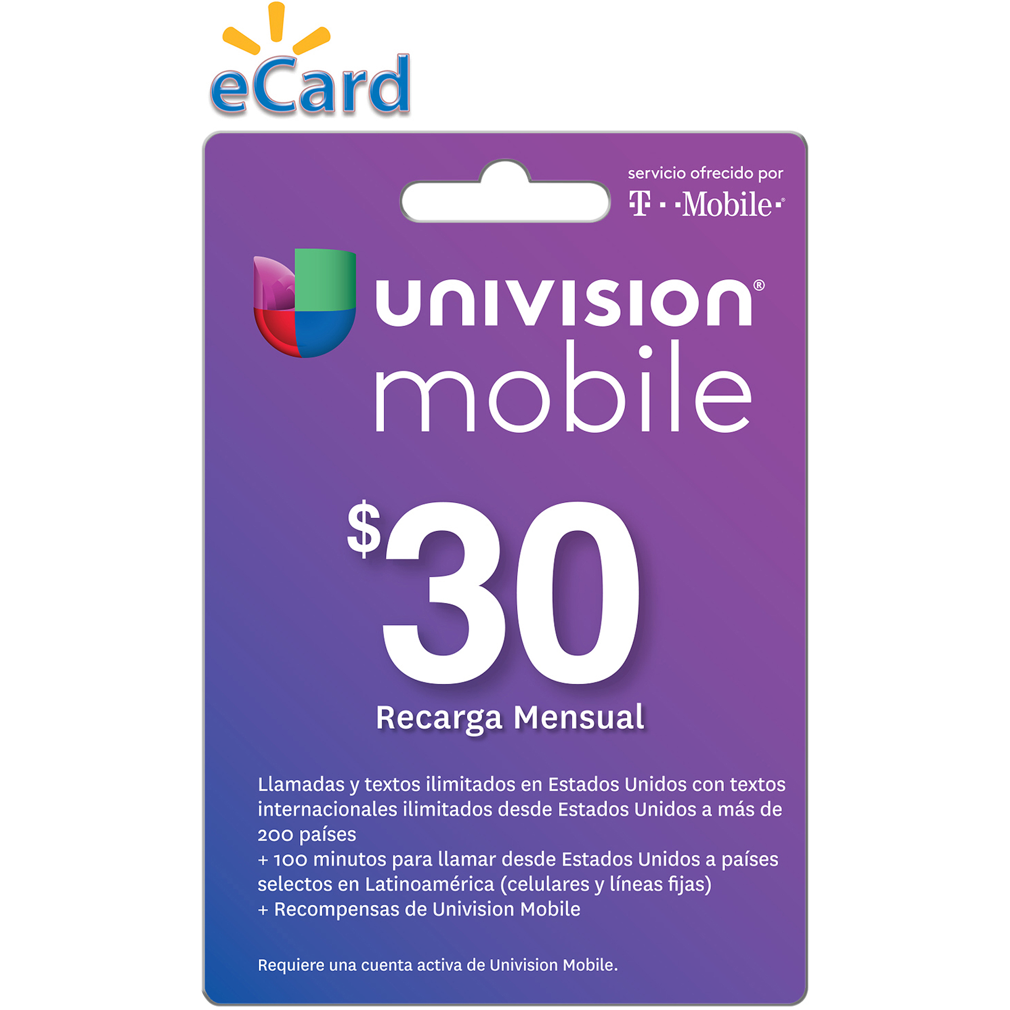 Univision Mobile $30 Card (Email Delivery)