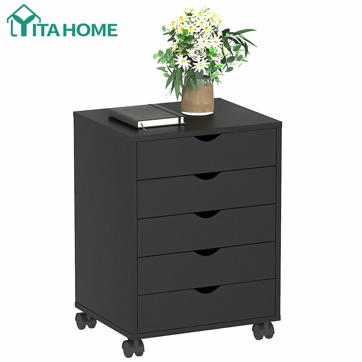 Wood Filing Storage Cart Organizer with Lockable Casters for Home and Office Black SUPER DEAL 5 Drawer Mobile Cabinet