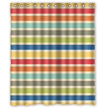 EREHome Clasic Red Orange Green and Blue Transverse Stripe Shower Curtain Polyester Fabric Bathroom Decorative Curtain Size 60x72 Inches - image 1 de 1