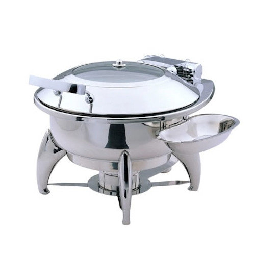SMART Buffet Ware ''Save on Additional Items''-Medium Round Chafing Dish with Glass Lid and Base