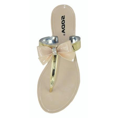 f94d5a5894d4 Soda Women Jelly Flat Bow Sandals Plastic Flip Flops Bling Rhinestone GEL  Gold Beige 9