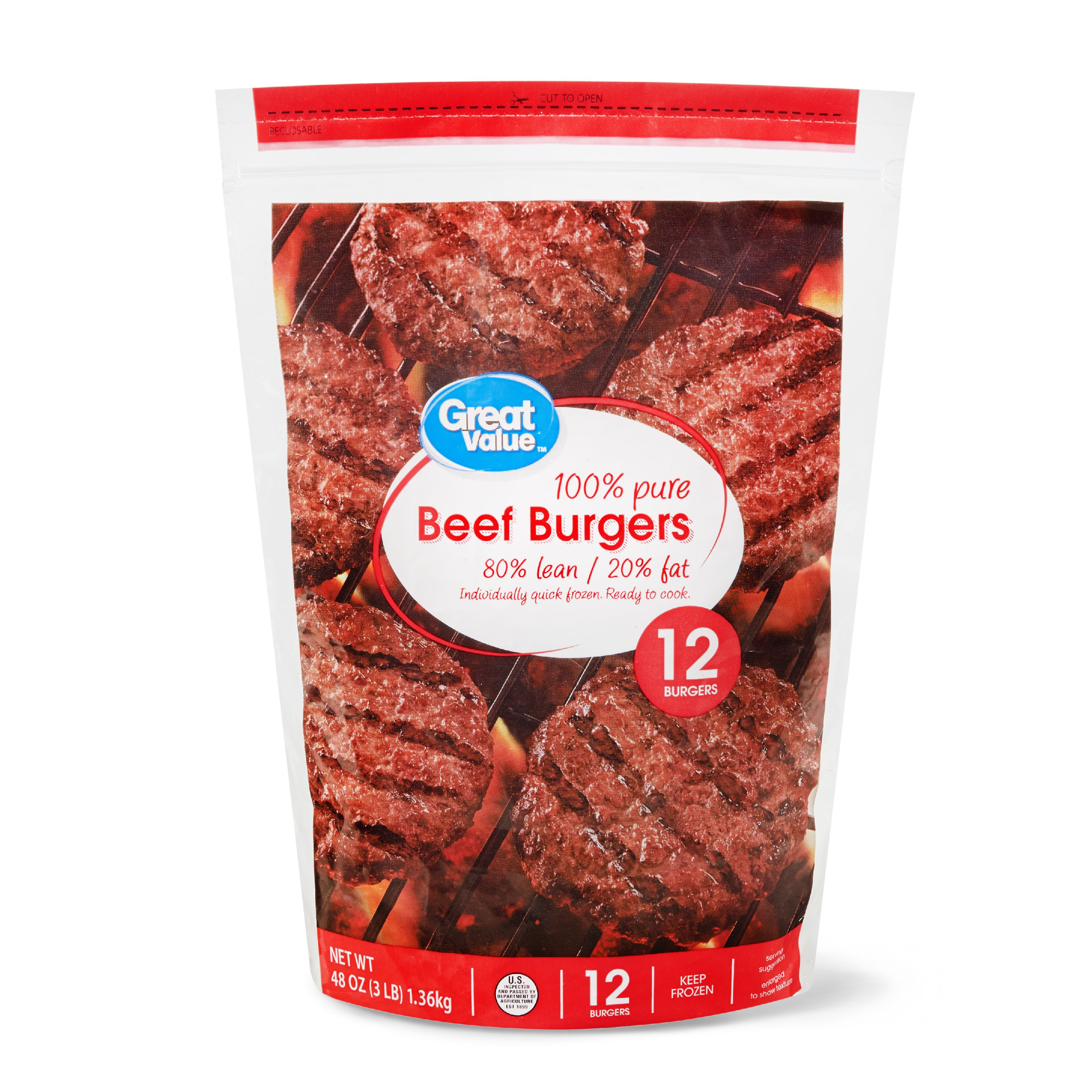 Great Value Beef Burgers, 80% Lean/20% Fat, 3 lbs, 12 Count