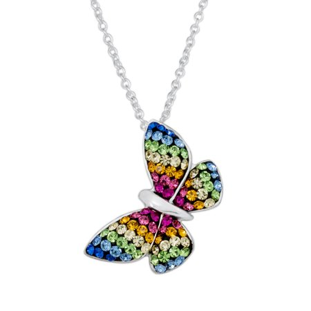 Fine Silver-Plated Multi-Crystal Butterfly Pendant, 18