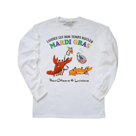 Laissez les bon temps rouler Mardi Gras Partying Seafood Long Sleeve T-Shirt (Bon Temps Football T Shirt)