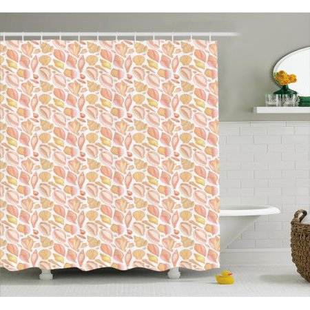 Shells Shower Curtain Sea Creatures And Different Forms Of Mollusca With Coffee Bean Shell