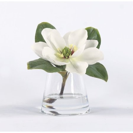 Gracie Oaks Magnolia Floral Arrangement In Glass Vase Walmart