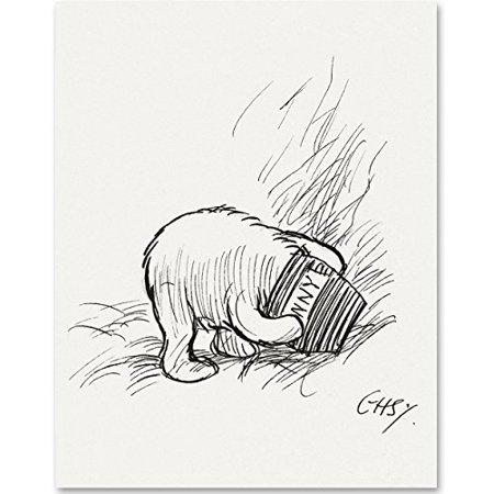 Pooh Bear Honey Pot - Stuck in a Honey Pot - Winnie the Pooh 11x14 Unframed Nursery Art Print
