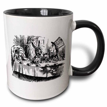3dRose Mad Hatter tea party illustration by John Tenniel. Alice in Wonderland - Two Tone Black Mug, 11-ounce (Black And White Mad Hatter)