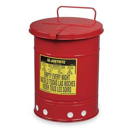 Oily Waste Can,10 Gal.,Steel,Red JUSTRITE 09310