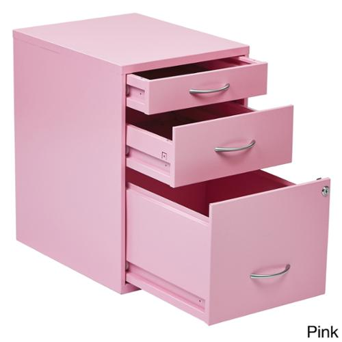 Locking Storage Drawer and Silver Handles File Cabinet Pink