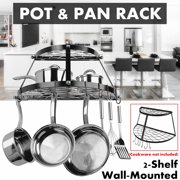 AUGIENB 24'' Kitchen Pot Rack Ceiling Mount Cookware Rack with 8 Hooks Decorative Oval Hanging Hanger Organizer Storage Holder Shelf for Home Restaurant, 2-Tier