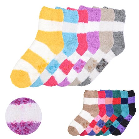All Top Bargains New 6 Pairs Plush Soft Socks Women Girls NON SKID Stripe 9-11 Winter Warm