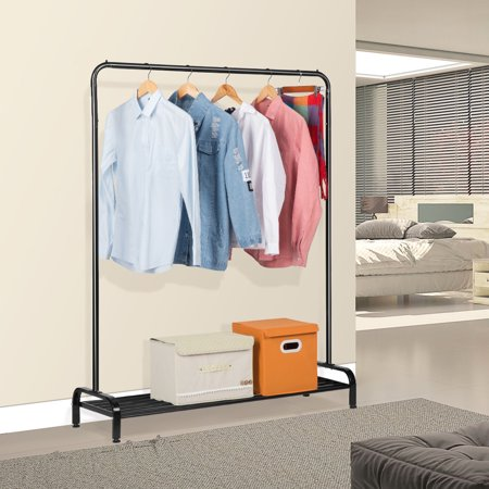 Garment Rack, LANGRIA 2 in 1 Commercial Grade Clothing Rack, Top Hanging Rod with stoppers on each side to prevent the clothes from falling, A bottom shelf made of 7 bars for shoes or