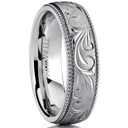 Men's Women's Hand Engraved Vintage Titanium Wedding Band, Unisex Milgrain Ring, Comfort Fit 6mm (Hand Engraved Band)