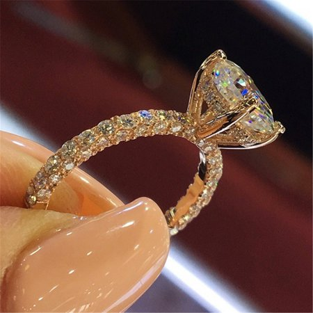 Beautiful Princess Blinking Ring Modern Fashion Engagement Proposing Ring Women Wedding Anniversary Exquisite Sparkling Rings](Blinking Jewelry)