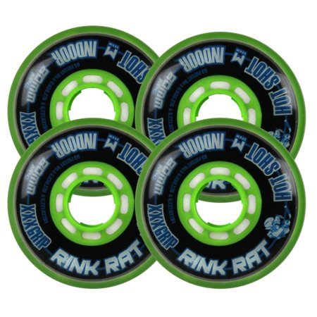 RINK RAT Wheels 80mm 76a HOTSHOT XXX 4-Pack Black/Green Inline Indoor Hockey (76a Wheels)