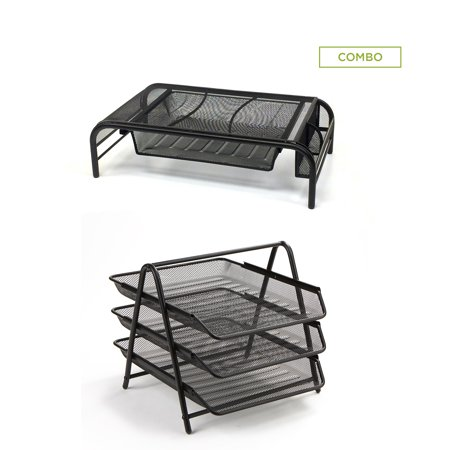 3 Tier Mesh Desk Tray (Mind Reader Metal Mesh Monitor Stand with Drawer Organizer, and 3 Tier Steel Mesh Paper Tray Desk Organizer, Black 2 Pc)