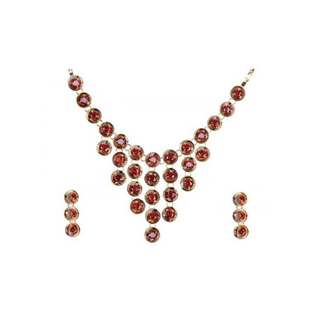 - Gold Tone Ruby Red Crystal 1960s Cascade Necklace Earring Set
