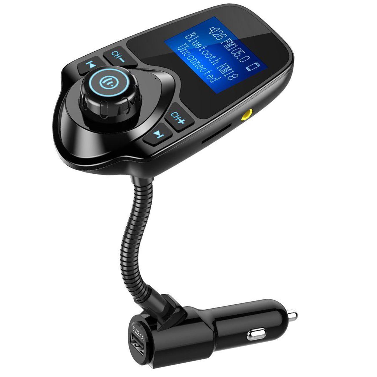 Nulaxy Bluetooth Car FM Transmitter Audio Adapter Receiver Wireless Handsfree Car Kit W 1.44 Inch Display - KM18 Black