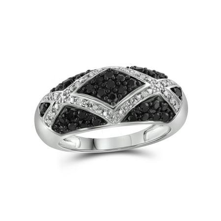 1.00 CTW Round cut Black & White Diamond Geometric Sterling Silver Ring