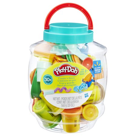 Play-Doh Create 'N Store Bucket with 10 Cans of Dough & 30+ Tools, 20 oz (Storage Buckets)