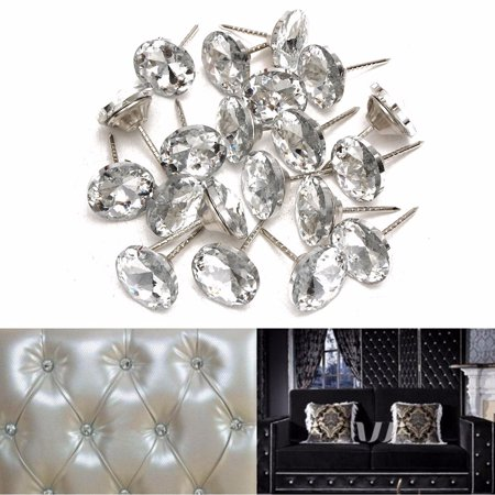 Pack of 20 Silver and White Sparkly Rhinestone Crystal Buttons With Metal Loop Round Buttons For Sewing Sofa Upholstery Button DIY Crafts Decoration  (Diameter:20mm) (Rhinestone Upholstery Buttons)