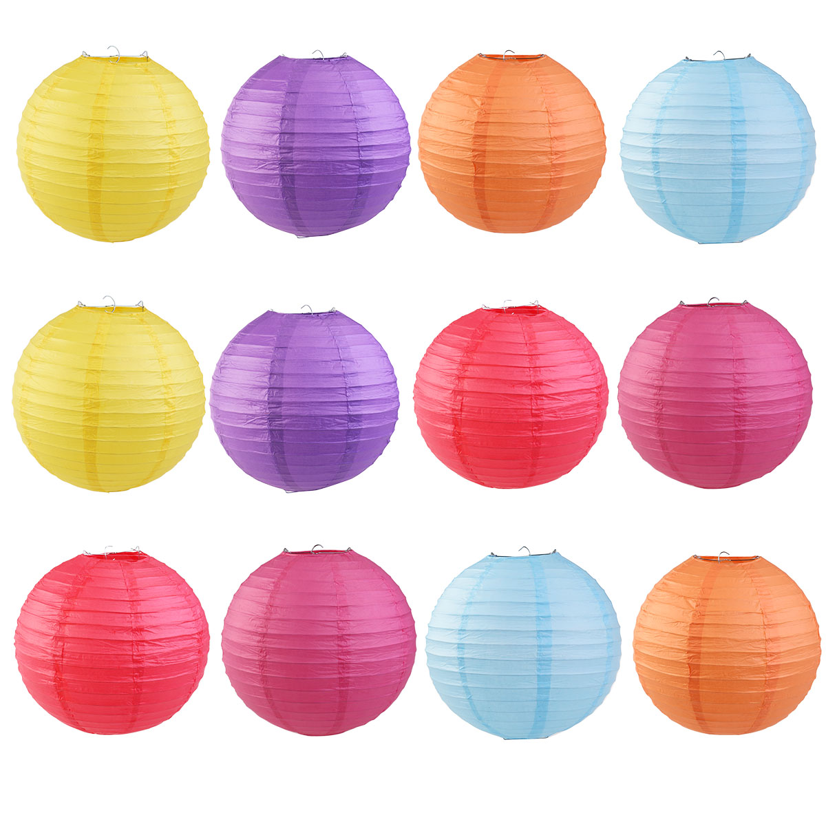 12pcs 6-color 12-inch Round Paper Lanterns with Wire Ribbing