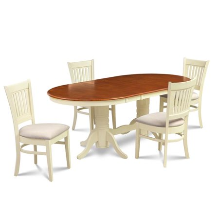 M&D Furniture SOMI5-BCH-C 5 Piece dining room set table with a butterfly leaf and 4 dining chairs in Buttermilk & Cherry finish