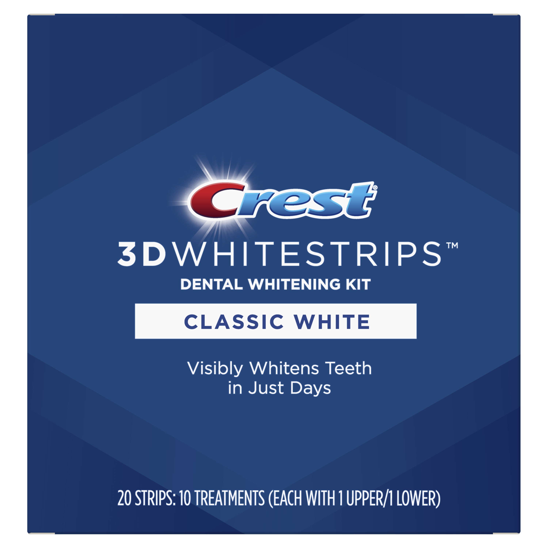 Crest 3d Whitestrips Classic White Teeth Whitening Kit 20 Strips Walmart Com Walmart Com