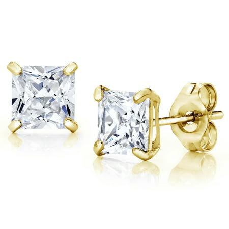 Jewelers 14K Gold 4MM Princess-Cut Stud Earrings made with Crystals Swarovski BOXED 4mm Medium Hoop Earrings