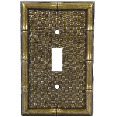 Leviton Brass Tiki Bamboo Toggle Switch Wallplate Cover 89601 ()