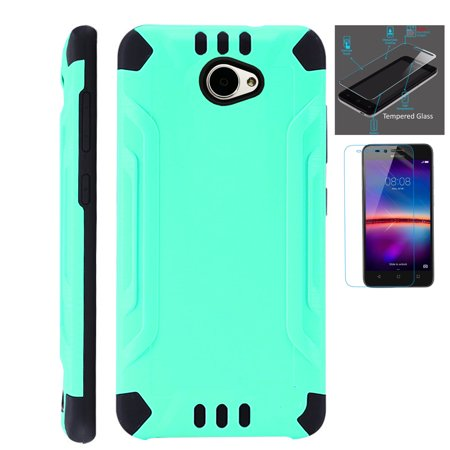 For Huawei Ascend XT2 / Huawei Ascend XT 2 / Huawei Elate 4G Case + Tempered Glass Slim Dual Layer Brushed Metal Texture Hybrid TPU Combat Phone Cover (Teal/Black)](body glove for the huawei ascend xt)