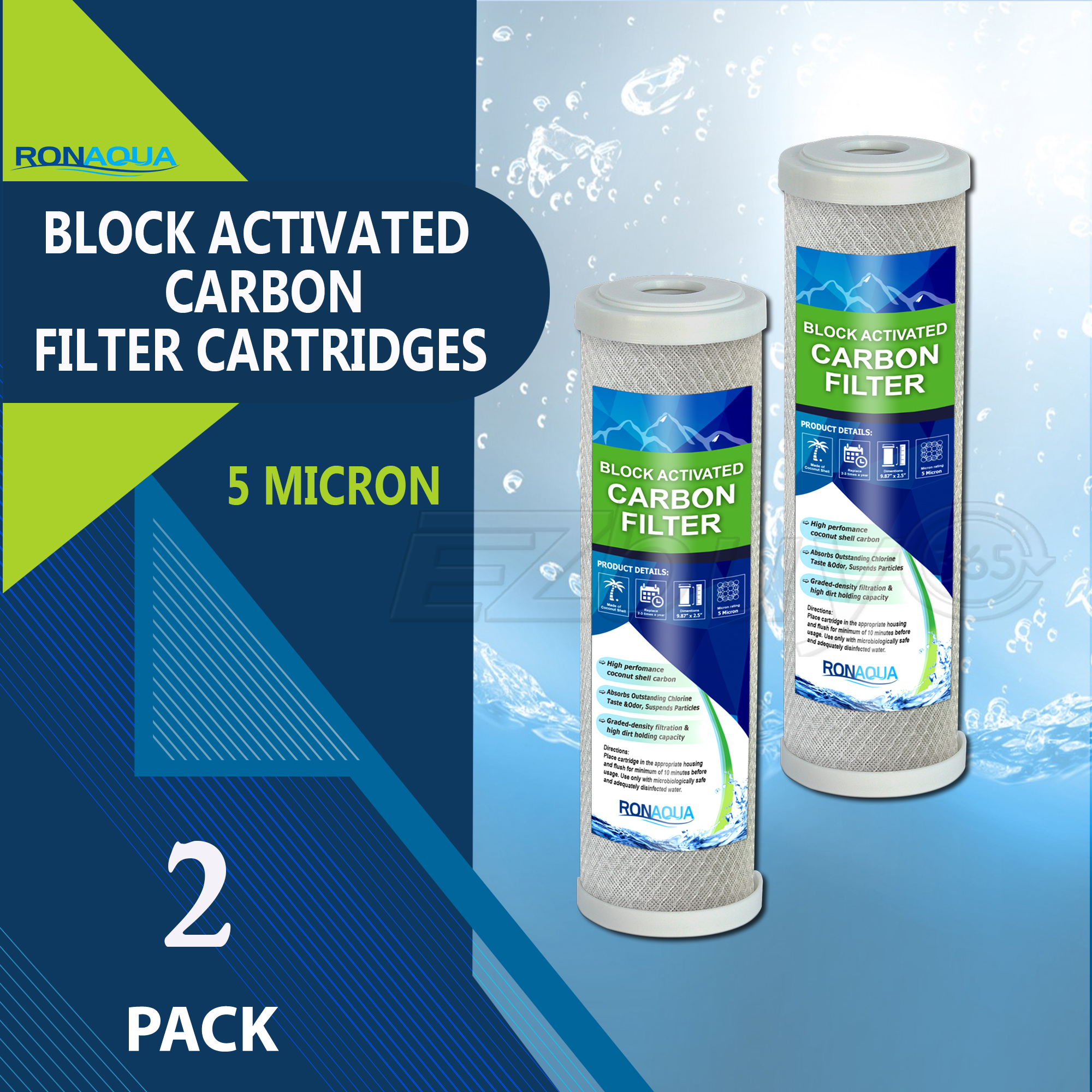 "Block Activated Carbon Coconut Shell Water Filter Cartridge 5 Micron for RO & Standard 10"" Housing by Ronaqua (2 Pack)"