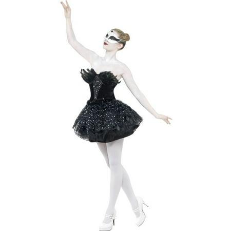 Women's  Gothic Black Swan Masquerade Balet Dance Dress Costume Large 14-16 - Masquerade Dress