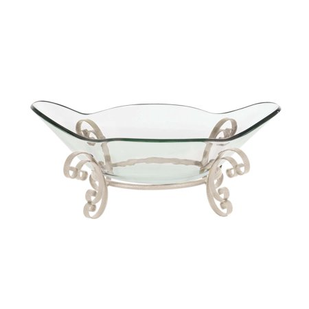 Decmode Glam 10 X 24 Inch Clear Glass Boat-Shaped Bowl With Gray Metal Frame Stand, Clear, Gray
