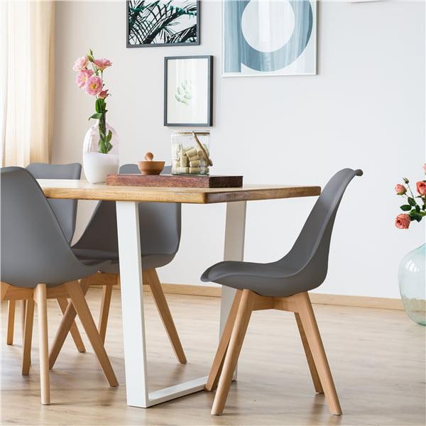 Smilemart Mid Century Modern Padded Dining Chairs Set Of 4 Gray Walmart Com Walmart Com