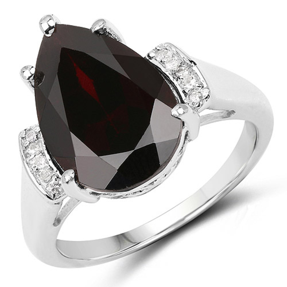 Genuine Pears Garnet and White Topaz Ring in Sterling Silver Size 7.00 by Bonyak Jewelry