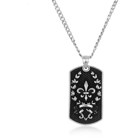 Men's Stainless Steel Oxidized Fleur De Lis Dog Tag Necklace