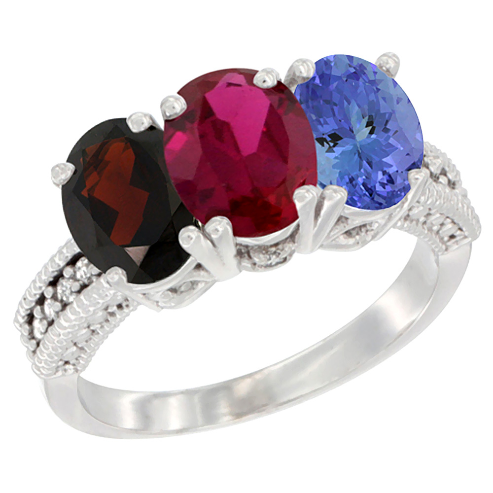10K White Gold Natural Garnet, Enhanced Ruby & Natural Tanzanite Ring 3-Stone Oval 7x5 mm Diamond Accent, sizes 5 10 by WorldJewels