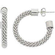 Rhodium-Plated Sterling Silver 3mm Thickness Mesh Hoop Earrings