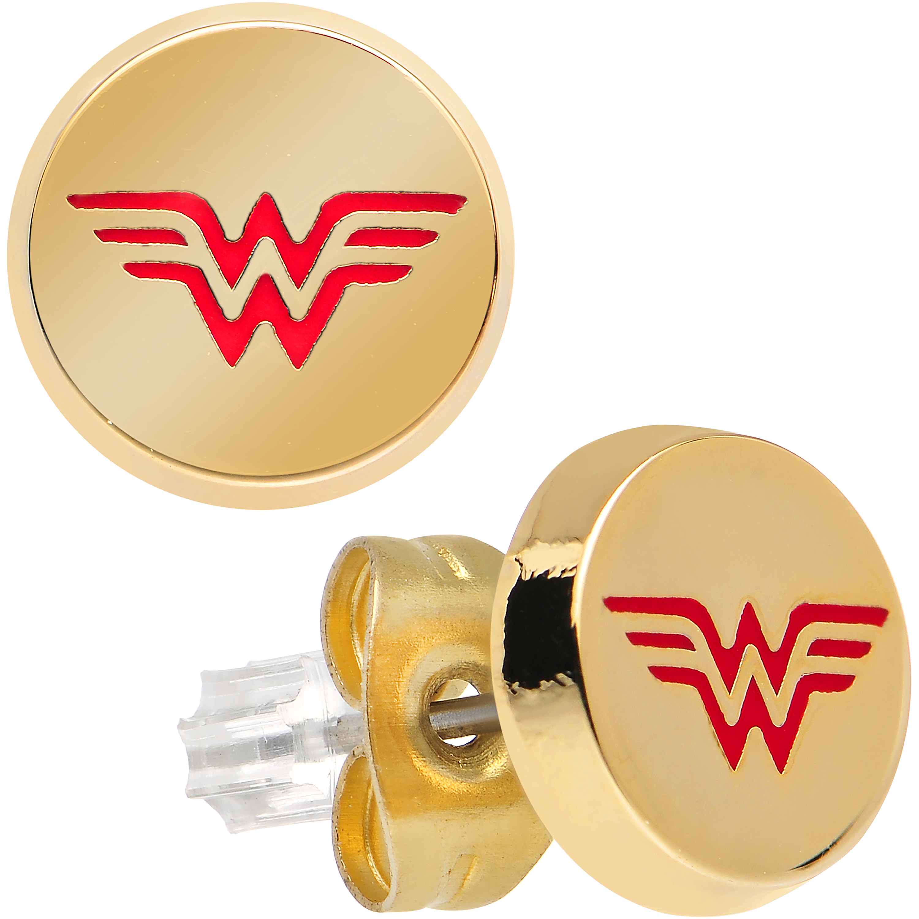 Officially Licensed Stainless Steel Gold IP Wonder Woman Round Stud Earrings