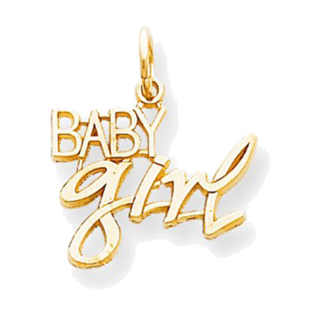 (10K Yellow Gold Polished Baby Girl Charm Pendant - 10mm)