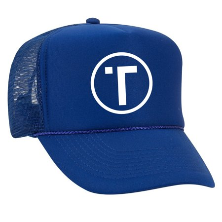 Tribe White Circle Trucker Hat Mesh Back Snap Back Polyester/Nylon Adult - Blue ()