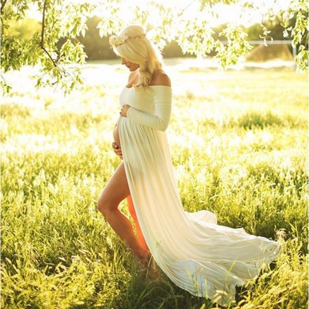 iLH Mallroom Women Pregnants Sexy Photography Props Dresse Off Shoulders Dress White M